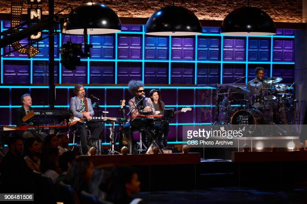 Reggie Watts and the Late Late Show Band aka Karen featuring Steve Scalfati Tim Young Hagar Ben Ari and Guillermo Brown during The Late Late Show...