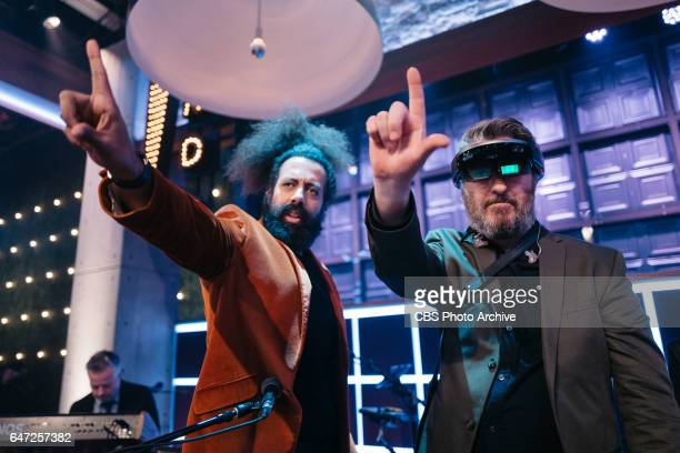 Reggie Watts and Tim Young experience augmented reality during 'The Late Late Show with James Corden' Monday February 27 2017 On The CBS Television...