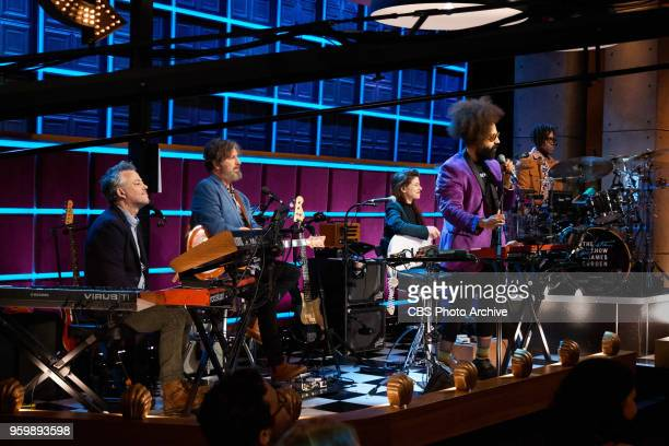 Reggie Watts asks a question during The Late Late Show with James Corden Tuesday May 15 2018 On The CBS Television Network Pictured Steve Scalfati...