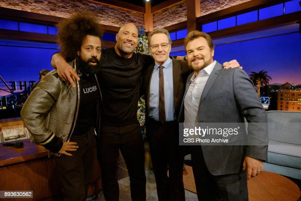 Reggie Watts Dwayne Johnson guest host Bryan Cranston and Jack Black stand for a photo during 'The Late Late Show with James Corden' Wednesday...