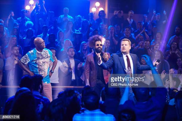 Reggie Watts introduces Samuel L Jackson and James Corden for a Drop The Mic segment during 'The Late Late Show with James Corden' Monday July 24...