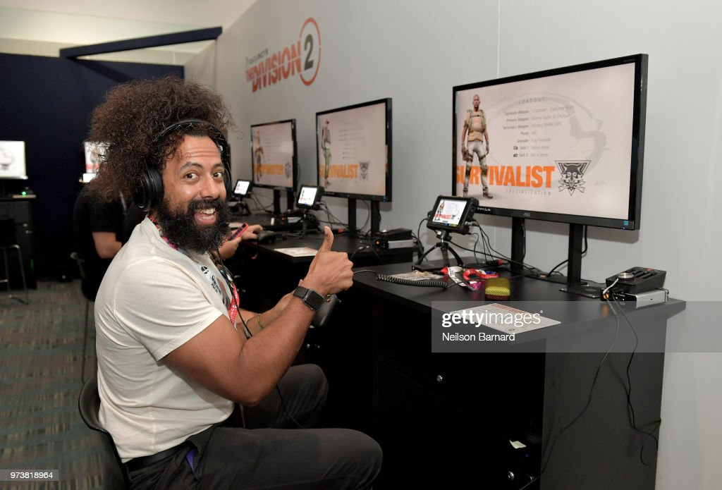 Reggie Watts playing Tom Clancy's The Division 2 during E3 2018 at Los Angeles Convention Center on June 13, 2018 in Los Angeles, California.