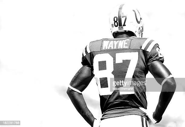 Reggie Wayne of the Indianapolis Colts looks on during a game against the Jacksonville Jaguars at EverBank Field on September 29 2013 in Jacksonville...