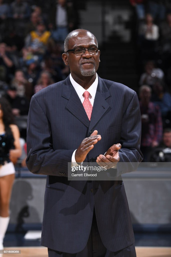 Reggie Williams is honored during the game between the Dallas Mavericks and the Denver Nuggets on January 27, 2018 at the Pepsi Center in Denver, Colorado.