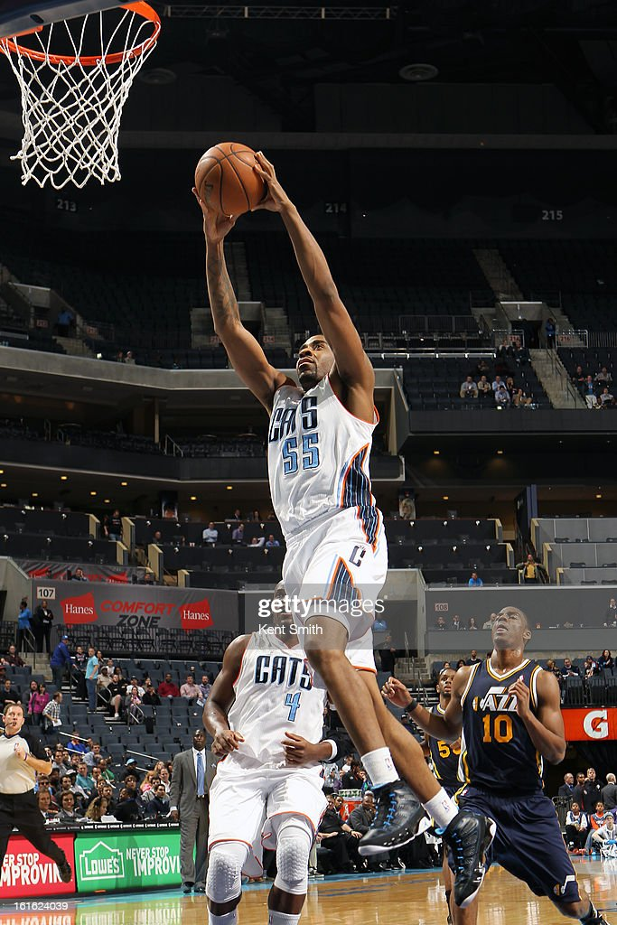 Reggie Williams #55 of the Charlotte Bobcats dunks the ball against the Utah Jazz at the Time Warner Cable Arena on January 9, 2013 in Charlotte, North Carolina.