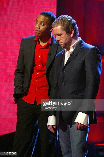 Reggie Yates and John Culshaw during Comic Relief Does Fame Academy March 5 2005 at Lambeth College in London England Great Britain