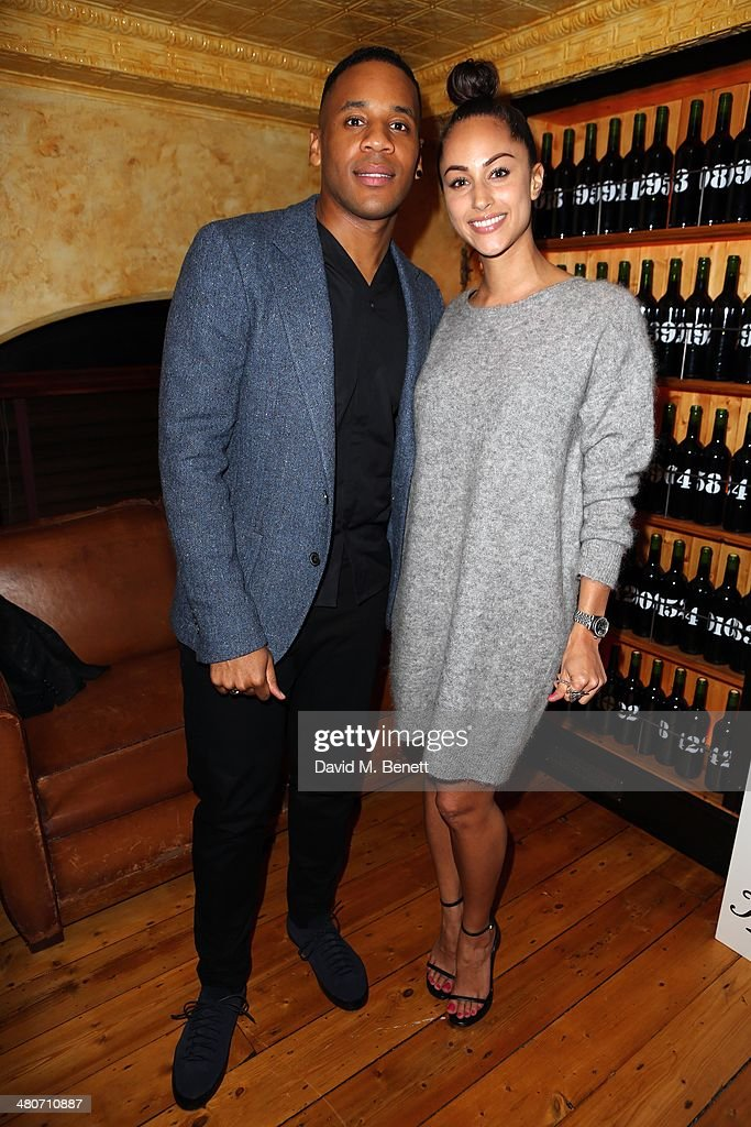 Reggie Yates and Tia Ward attend the Kiehl's private dinner to celebrate Kiehl's most iconic products at Balthazar Restaurant on March 26, 2014 in London, England.