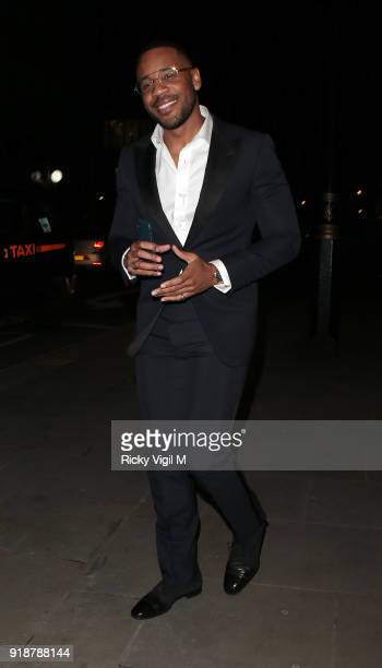 Reggie Yates attends the Dunhill GQ preBAFTA filmmakers dinner and party cohosted by Andrew Maag Dylan Jones at Bourdon House on February 15 2018 in...
