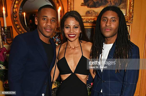 Reggie Yates Emma McQuiston Viscountess Weymouth and Cobbie Yates attend the Sunday Times Style Christmas Party at Annabel's on November 30 2016 in...