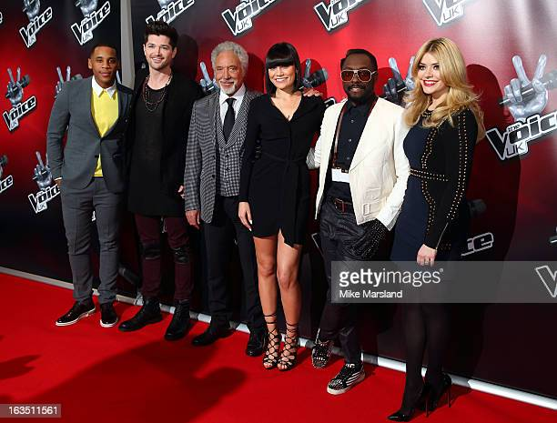 Reggie Yates Sir Tom Jones Jessie J William Danny O'Donoghue and Holly Willoughby attend a photocall to launch the second series of The Voice at Soho...