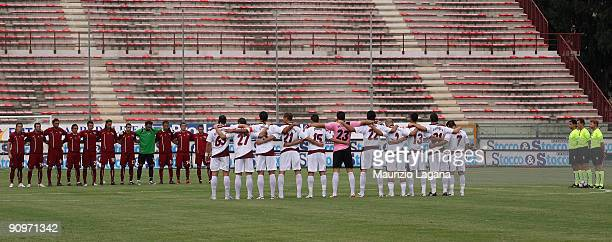 Reggina Calcio and AS Cittadella teams line up for a minute of silence in memory of Italian soldiers killed in Afghanistan before their Serie B match...