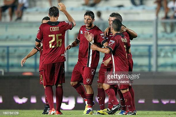 Reggina players celebrate a goal scored by Giovanni Fabio Ceravolo during the Serie B match between Empoli FC and Reggina Calcio at Stadio Carlo...