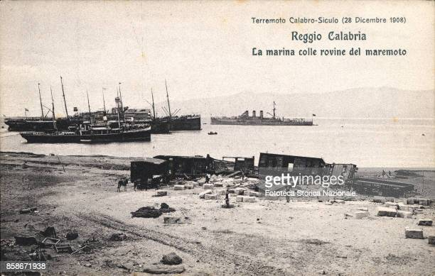 Reggio Calabria the marina with ruins of the tsunami after the earthquake CalabroSicilian 1908 Postcard from a series published by the Red Cross for...
