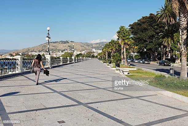 reggio di calabria promenade - reggio calabria stock pictures, royalty-free photos & images