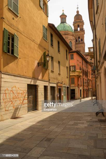 reggio emilia side street - reggio emilia stock pictures, royalty-free photos & images
