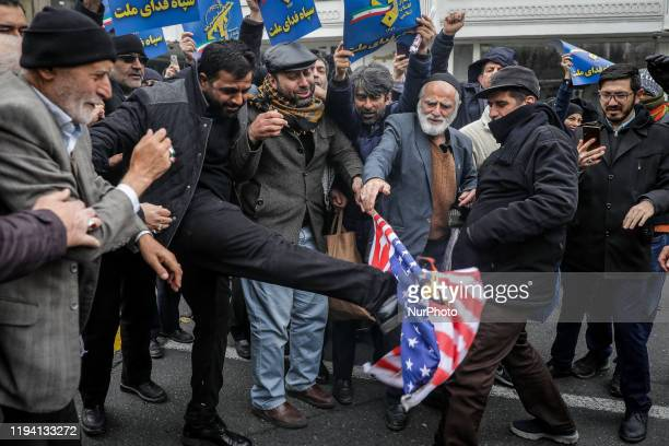 Regime supporters protest against U.S. Following a Friday prayer led by Supreme Leader of Iran, Ali Khamenei after a eight years long break in...