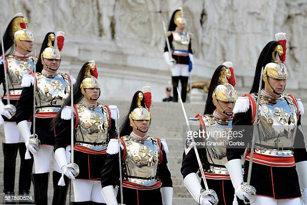Regiment cuirassiers take part in the celebration and military parade for the 70th anniversary of the Italian Republic on June 2 2016 in Rome Italy