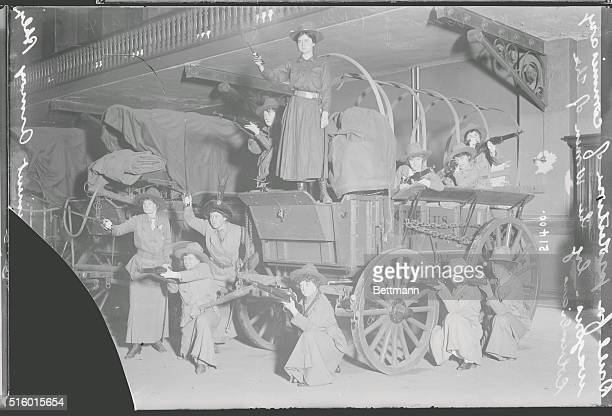 A regiment of girls organized by Colonel J Hungerford Milbank clad in khaki drilling the in the 47th Regiment Armory Brooklyn NY November 8 1914 They...
