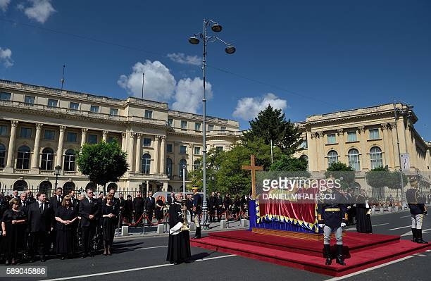 Regiment soldiers guard the coffin of the late Queen Anne of Romania at the Royal Palace now The Art Museum of Romania as members of the Royal House...