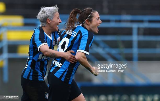 Regina Baresi of FC Internazionale celebrates with her teammate Stefania Tarenzi after scoring the opening goal during the Women Serie A match...