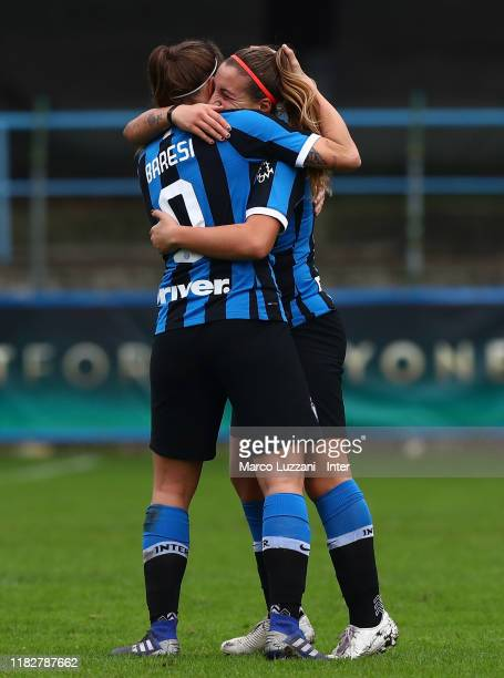 Regina Baresi of FC Internazionale celebrates with her teammate Gloria Marinelli after scoring the opening goal during the Women Serie A match...
