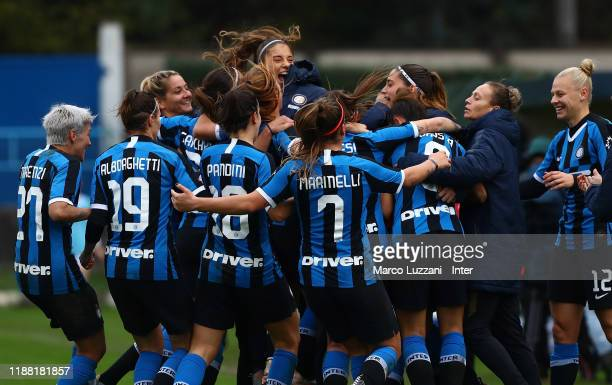 Regina Baresi of FC Internazionale celebrates with her teammates after scoring the opening goal during the Women Serie A match between FC...