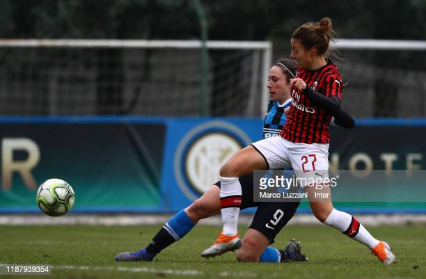 Regina Baresi of FC Internazionale competes for the ball with Linda Tucceri of AC Milan during the Women Coppa Italia match between FC Internazionale...