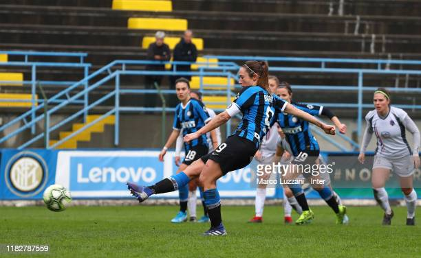 Regina Baresi of FC Internazionale scores the opening goal from the penalty spot during the Women Serie A match between FC Internazionale and Orobica...