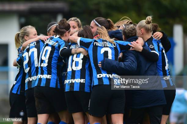 Regina Baresi of FC Internazionale Women celebrates her first goal during the Women Serie A match between FC Internazionale and Orobica at Campo...