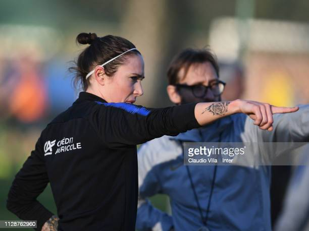 Regina Baresi of FC Internazionale Women reacts during a training session at Suning Youth Development Centre in memory of Giacinto Facchetti on March...