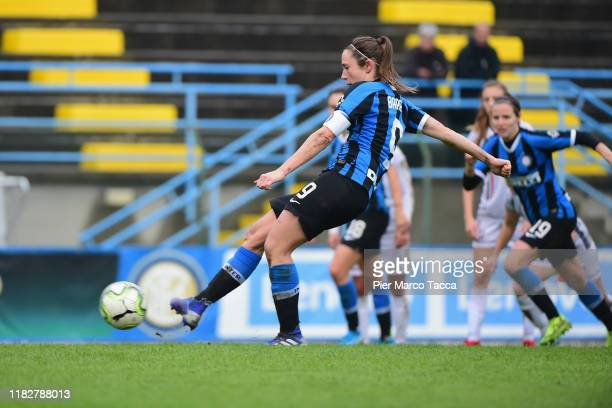 Regina Baresi of FC Internazionale Women scores the penalty during the Women Serie A match between FC Internazionale and Orobica at Campo Sportivo F...