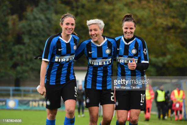 Regina Baresi Stefania Tarenzi and Alborghetti Lisa of FC Internazionale celebrate the victory at the end of the Women Serie A match between FC...