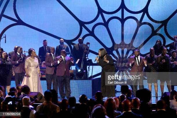 Regina Belle and Kelly Price perform during the 34th annual Stellar Gospel Music Awards at the Orleans Arena on March 29 2019 in Las Vegas Nevada