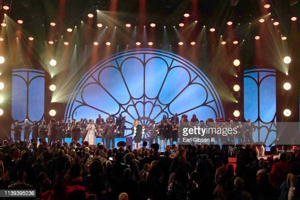 Regina Belle Erica Campbell and Kelly Price perform during the 34th annual Stellar Gospel Music Awards at the Orleans Arena on March 29 2019 in Las...