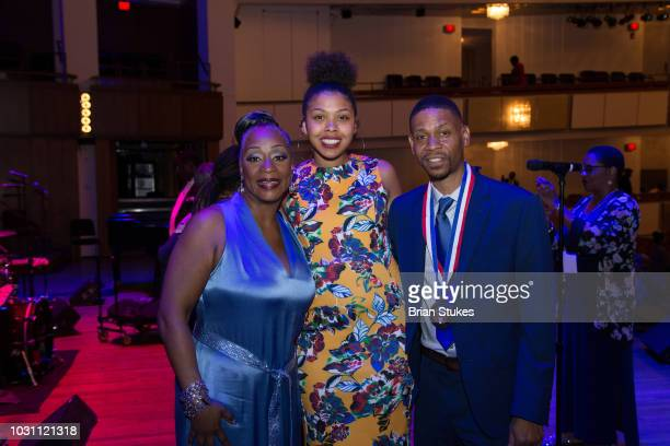 Regina Belle Victorie Franklin Granddaughter and Kecalf Franklin Son of Aretha Franklin attend 'Evolution of Gospel A Tribute to Aretha Franklin' at...