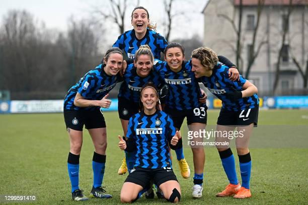 Regina Elena Baresi, Julie Martine Debever, Gloria Marinelli, Beatrice Merlo, Hazleydi Yoreli Rincon Torres, Stefania Tarenzi of FC Internazionale...