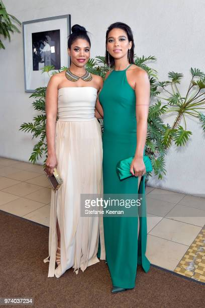 Regina Hall and honoree Alexandra Shipp wearing Max Mara attend the Women In Film 2018 Crystal Lucy Awards presented by Max Mara Lancôme and Lexus at...
