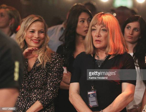 Regina Halmich and ExBoxing Manager Kellie Maloney look on before the IBF Cruiserweight World Championship title fight between Yoan Pablo Hernandez...