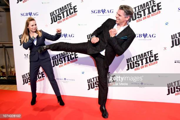Regina Halmich and Klaus Nonnenmacher during the 'Ultimate Justice' premiere at Kino Alexa on December 14 2018 in Berlin Germany