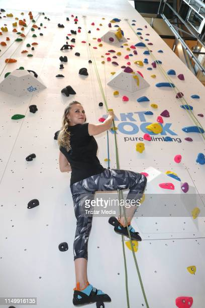 Regina Halmich during the celebrity climbing at Europa Passage shopping mall on June 13, 2019 in Hamburg, Germany.