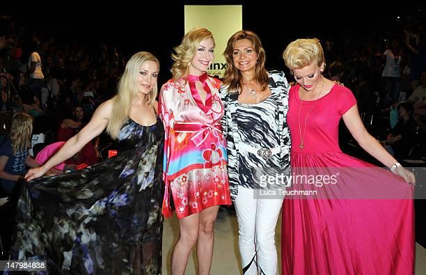 Regina Halmich, Elna-Margret zu Bentheim, Maren Gilzer and Eva Hassmann arrive for the Minx By Eva Lux Show at Mercedes-Benz Fashion Week...