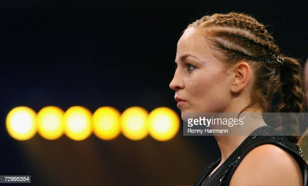 Regina Halmich of Germany looks on prior her IBF Flyweight fight against Reka Krempf of Hungary at the Brandenberge Arena on January 13, 2007 in...