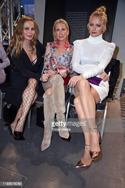 Regina Halmich Tamara Graefin von Nayhauss and Franziska Knuppe attend the Lana Mueller fashion show during Berlin Fashion Week Autumn/Winter 2020 at...