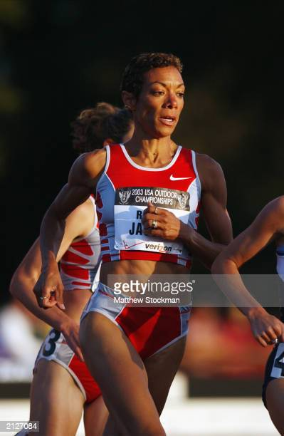 Regina Jacobs paces herself in the Women 1500 Meter Run prelims at the USA Outdoor Track and Field Championships on June 19, 2003 at Cobb Track and...