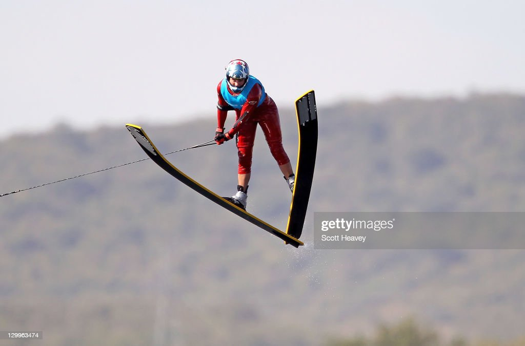 Regina Jaquess of the USA jumps to a new World Record in the Women's Overall at Boca Laguna Water Ski Club during Day Eight of the XVI Pan American Games on October 22, 2011 in Guadalajara, Mexico.
