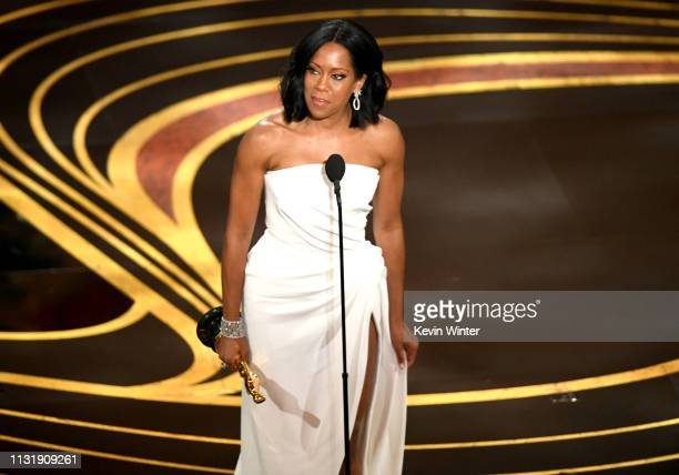 Regina King accepts the Actress in a Supporting Role award for 'If Beale Street Could Talk' onstage during the 91st Annual Academy Awards at Dolby...