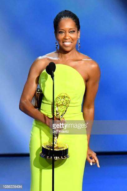 Regina King accepts the Outstanding Lead Actress in a Limited Series or Movie award for 'Seven Seconds' onstage during the 70th Emmy Awards at...