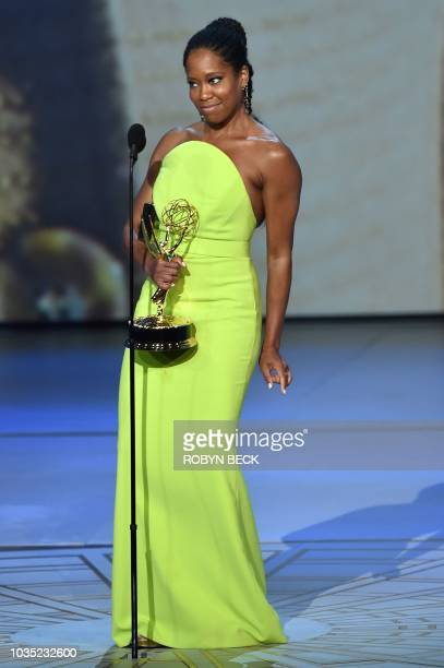 Regina King accepts the Outstanding Lead Actress in a Limited Series or Movie award for 'Seven Seconds' onstage during the 70th Emmy Awards at the...