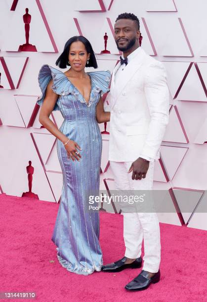 Regina King and Aldis Hodge attend the 93rd Annual Academy Awards at Union Station on April 25, 2021 in Los Angeles, California.