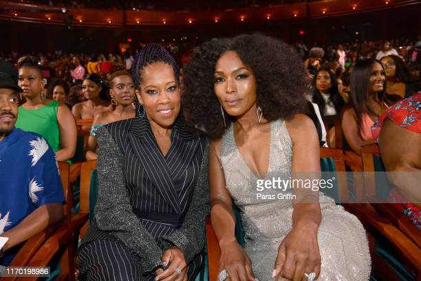 Regina King and Angela Bassett attend Black Girls Rock 2019 Hosted By Niecy Nash at NJPAC on August 25, 2019 in Newark, New Jersey.
